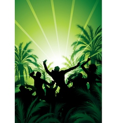 people celebrating at sunrise vector image
