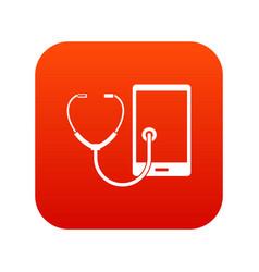 Phone diagnosis icon digital red vector