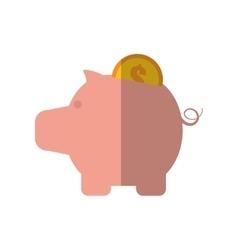 piggy money coin dollar gold color shadow vector image