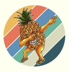Pineapple dabbing retro vector