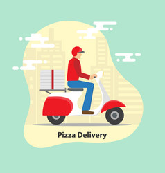 pizza delivery concept delivery scooter vector image