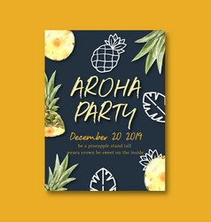 Poster design with fruits-theme pineapple vector