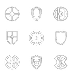 Protective shield icons set outline style vector