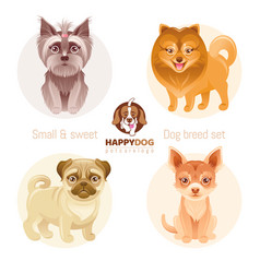 Puppy dog breeds icon set yorkshire terrier vector