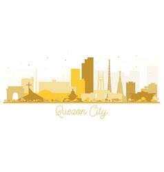 quezon city skyline golden silhouette vector image