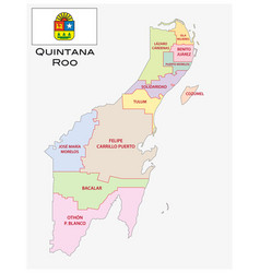 quintana roo administrative and political map vector image