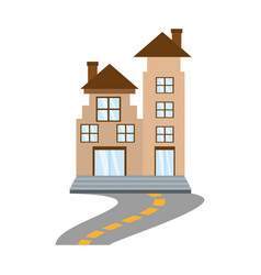 Real estate apartment building road vector