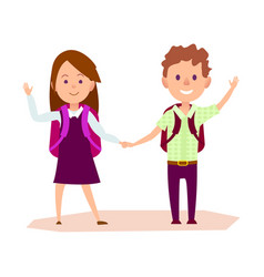 Schoolgirl and schoolboy stands and waves hand vector