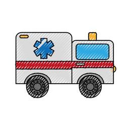 Scribble ambulance car cartoon vector