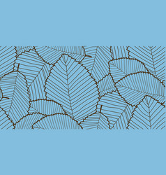 seamless leafs pattern blue and brown colors vector image