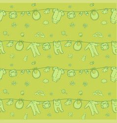 Seamless monochrome green pattern with cute baby vector
