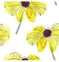 Seamless pattern with flower of rudbeckia vector