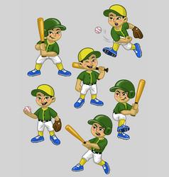 Set cartoon asian boy baseball player vector