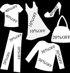 Set of white clothing with sale percent discount vector