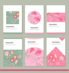 Set with six floral romantic templates tulips and vector