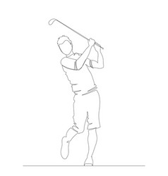 silhouette golfer swinging driver wood for golf vector image