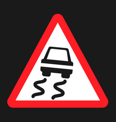 Slippery road sign flat icon vector