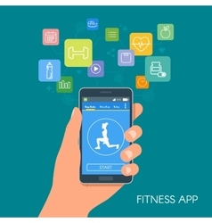 Smart phone sport app with icons Fitness mobile vector