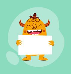 Smiley cartoon monster holding a card vector