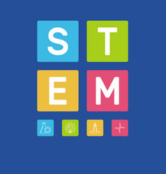 Stem word with icons on blue vector
