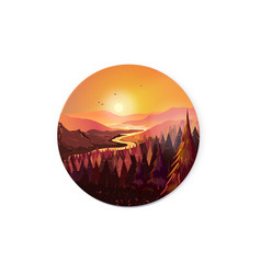 sunrise in beautiful mountains with river and vector image