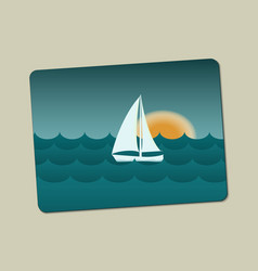 sunset sailboat and sea with waves vector image vector image