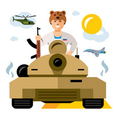 Tankman russian military army vector