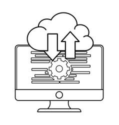 Technology computer screen cartoon vector