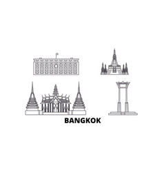 thailand bangkok line travel skyline set vector image