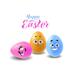 three easter eggs vector image