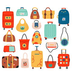 travel bags handle travel luggage bag suitcase vector image