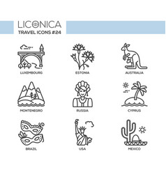 Travel - modern flat line design icons set vector