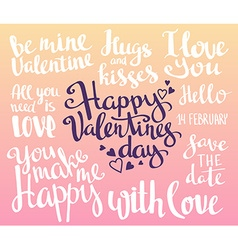 Valentines Day Set of Valentines stylish trendy vector image