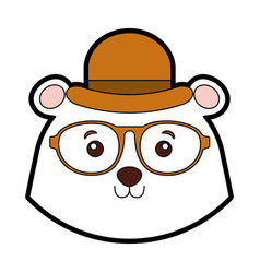 Vintage bear face cartoon vector
