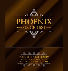 vintage gold hipster label with lettering phoenix vector image