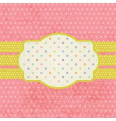 Vintage pastel frame on polka dot background vector