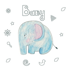 Watercolor kids print funny gentle elephant vector