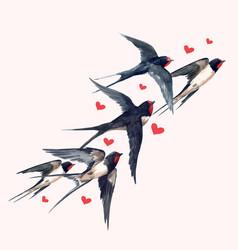 Watercolor swallow bird composition vector