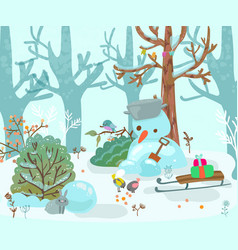 winter forest landscape with a snowman and sled vector image