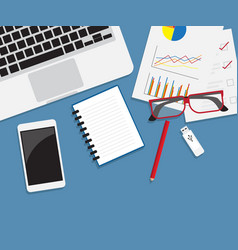 work desk with office supplies flat style vector image