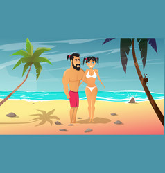 Young man with girl rests on the beach vector