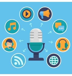 podcast concept in flat style vector image