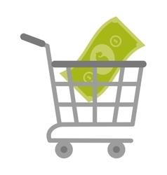 shopping cart online bill money vector image vector image