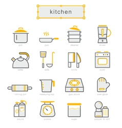 Thin line icons set kitchen set vector image vector image