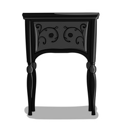 a wooden bedside table with black and gray carved vector image