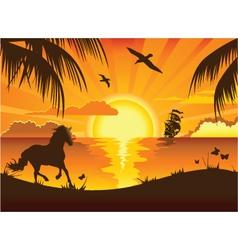 Beachside Sunset vector image vector image
