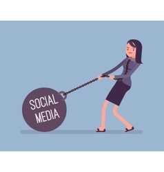 Businesswoman dragging a weight Social Media on vector image vector image