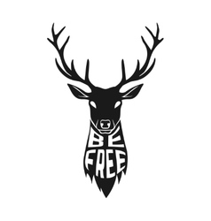 Concept silhouette of deer head with text inside vector image
