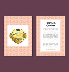 exclusive premium quality golden label isolated vector image vector image