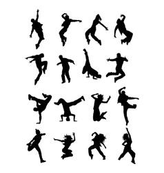 Hip Hop Dancer Silhouettes vector image